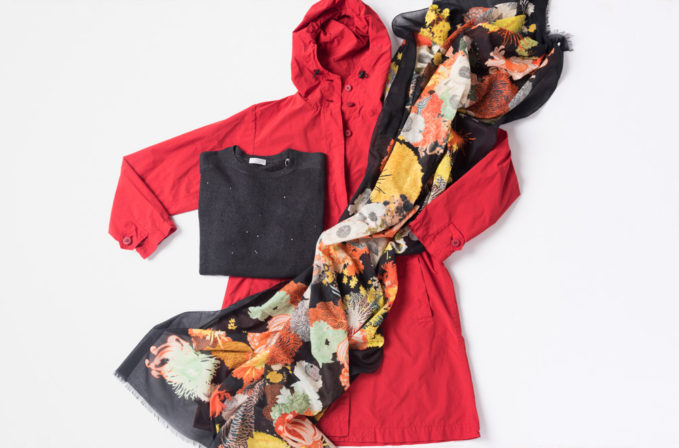 Dries Van Noten Floral Cotton Scarf, Issey Miyake Cauliflower Red Coat, Brunello Cucinelli Charcoal Gray Sweater