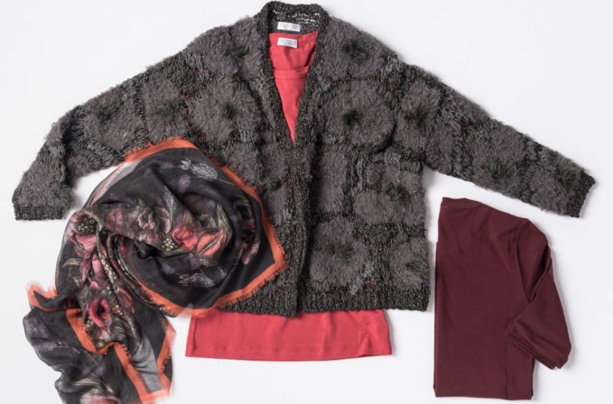 Brunello Cucinelli Grey Embroidery Cardigan, Red Cotton Top, and Maroon Sweater with Monili Detail