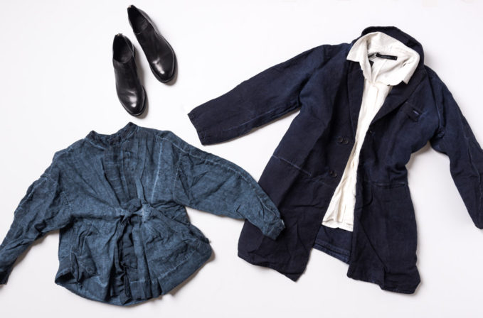 Umit Unal Blue Linen jacket, white linen top, and navy linen jacket and Officine Creative black leather shoes