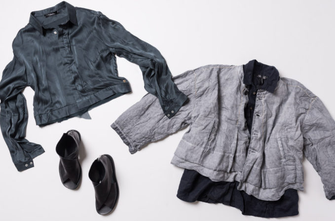 Umit Unal SS17 teal silk top, navy blue linen top, and grey linen jacket, and Officine Creative black leather sandals