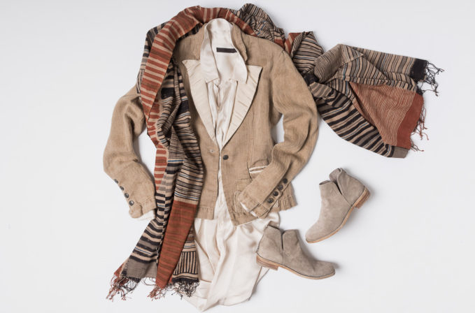 Nicholas K white silk shirt, Greg Lauren brown coat, Ajit Das red scarf, and Officine Creative suede leather boots