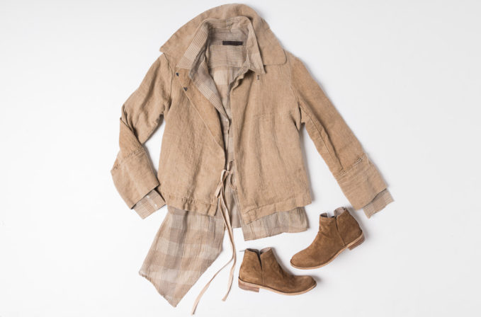 Greg Lauren Brown Jacket, Nicholas K tan flannel shirt, and Officine Creative