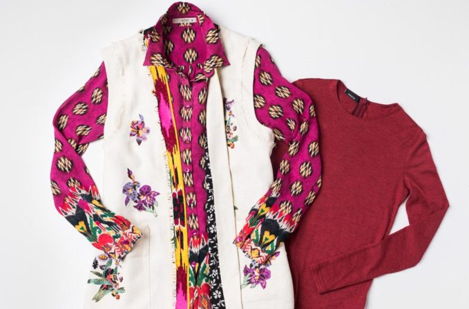Etro Embroidery and Beaded Vest and Pink print shirt and Akris shirt