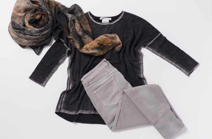 Paychi Guh Cashmere Sweater, Ever Veritas Grey and Brown Scarf, and Closed Baker jeans in grey