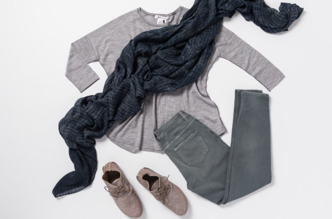 Paychi Guh Grey Cashmere Sweater, Ever Veritas Black Scarf, and Closed Baker jeans in Seaweed