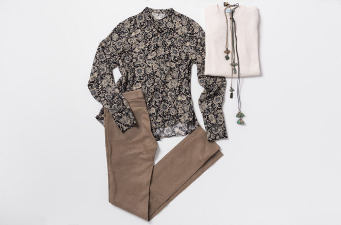 Gary Graham Floral Top, Lou Zeldis Jewelry, Hania by Anya Cole Cashmere sweater, and Ventcouvert Brown Leather Pants