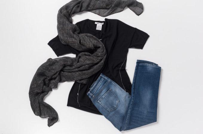 Paychi Guh Black Cashmere Top, Closed Jeans Heartbreaker, Ever Veritas Black Scarf