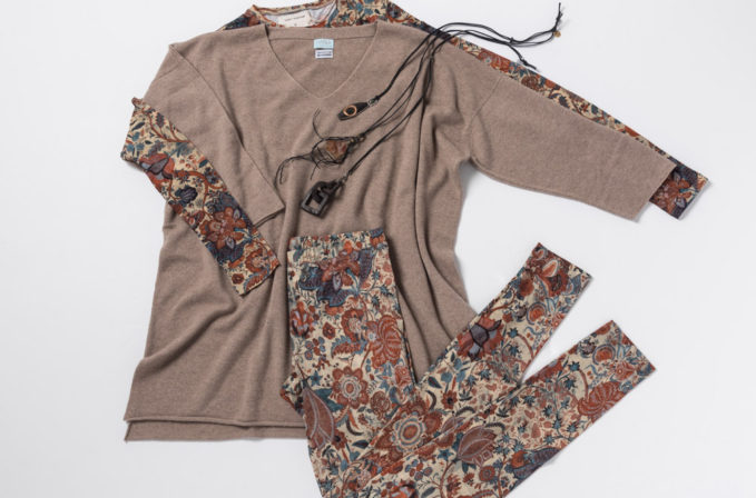Gary Graham Floral Shirt and Leggings, Lou Zeldis Jewelry, and Hania by Anya Cole brown cashmere sweater.