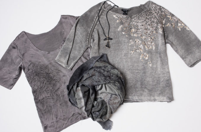 Avant Toi grey linen sweater, Avant Toi grey cashmere scarf, Jaga silk shirt, and Lou Zeldis rock necklace