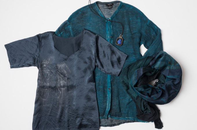 Avant Toi blue linen cardigan, Avant Toi blue cashmere scarf, Jaga blue silk shirt, and Lou Zeldis lapis necklace