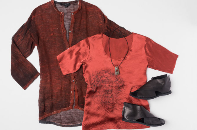 Avant Toi red linen cardigan, Jaga red silk shirt, Lou Zeldis locket necklace, and Officine Creative leather sandals.