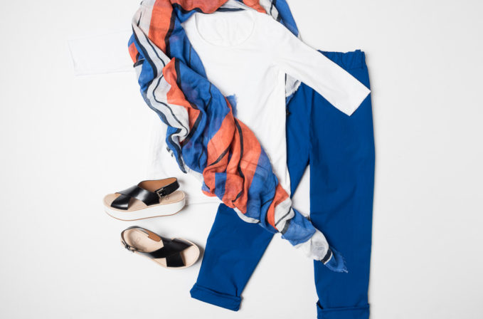 Labo.Art white cotton shirt, Labo.Art blue cotton pants, Som Les Dues stripe scarf, and Flamingos shoes platform sandal