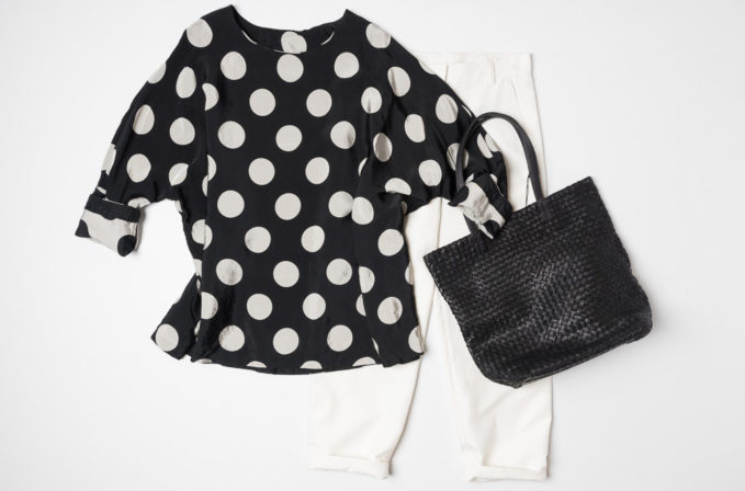 Casey Casey Black Polka Dot shit, Massimo Palomba Leather handbag, and Akris white cotton pants