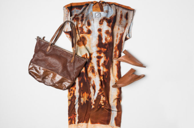 Anntian Rust silk dress, Vive La Difference leather handbag, and Officine Creative brown leather sandals