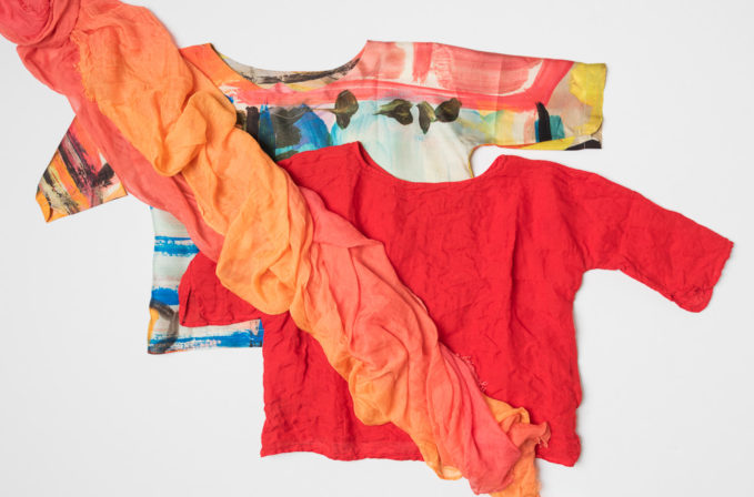 Daniela Gregis Paint stroke shirt, Daniela Gregis red linen shirt, and Faliero Sarti orange ombre scarf