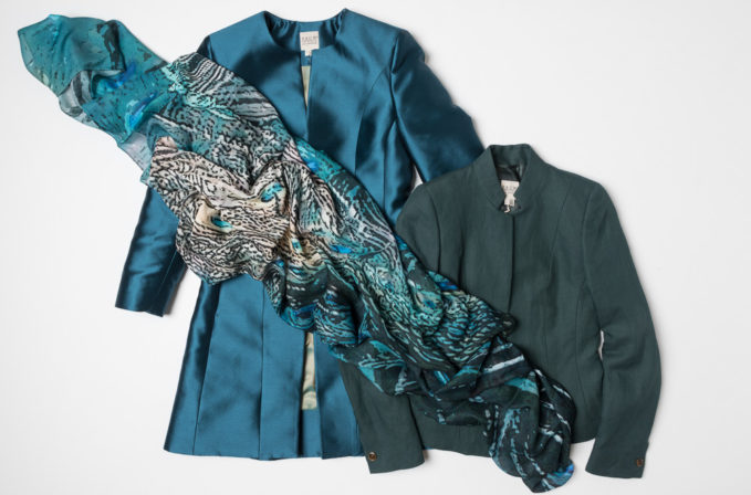 Pauw Jacket in Teal Blue and Emerald Green, and Benny Setti blue silk scarf