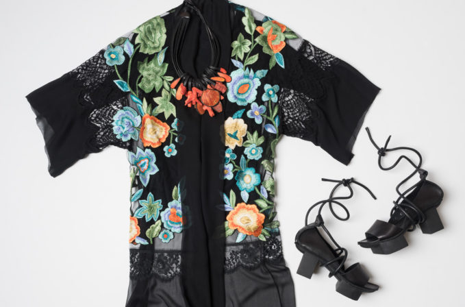 Alberta Ferretti sheer black embroidered cardigan kimono, Monies orange shell necklace, and Trippen Ajar platform sandal