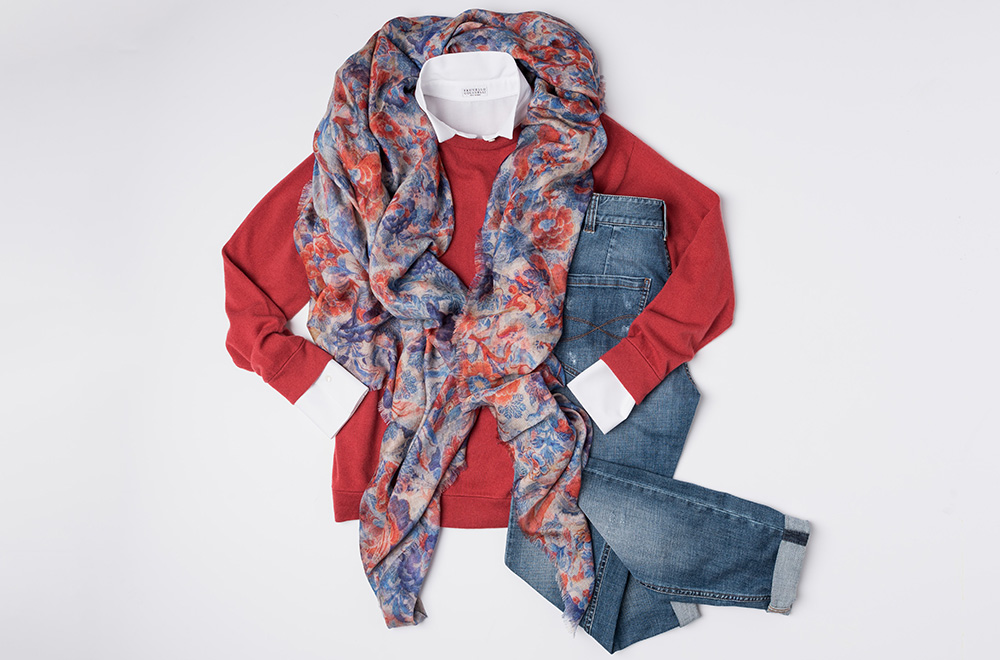 Brunello Cucinelli Red Sweater, Brunello Cucinelli White Button Up Shirt, Brunello Cucinelli denim pants, and Alonpi Cashmere blue and red print scarf | Santa Fe Dry Goods & Workshop